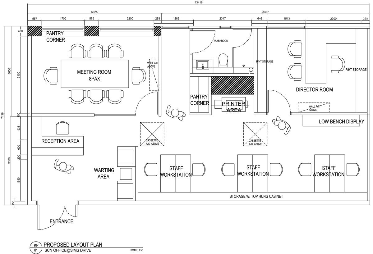 办公室设计AutoCAD平面图